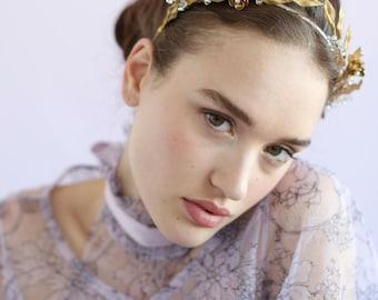 Bridal headband - Symmetrical ornate gilded headband - Style 652 - Made to Order