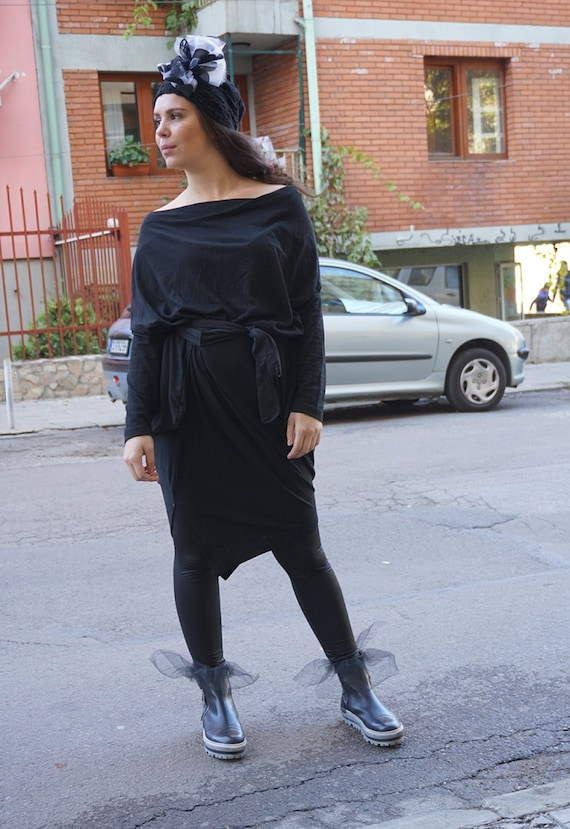 Flattering Oversized Black Maxi Sexy Dress, Asymmetric Loose Dress, Long Black Dress, Party Wear, Clubwear, Pagan Wear, kaftan Dress