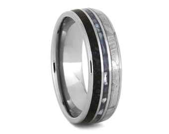 Mother of Pearl Wedding Band For Men, Meteorite Ring With Dinosaur Bone in Titanium, Men's Pearl Ring