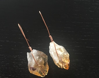 Medium Raw Citrine Drop Earrings