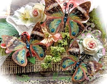 Reneabouquets Butterfly Set- Chasing Butterflies Glitter Glass Butterfflies Scrapbook Embellishment, Wedding Decoration, Home Decor