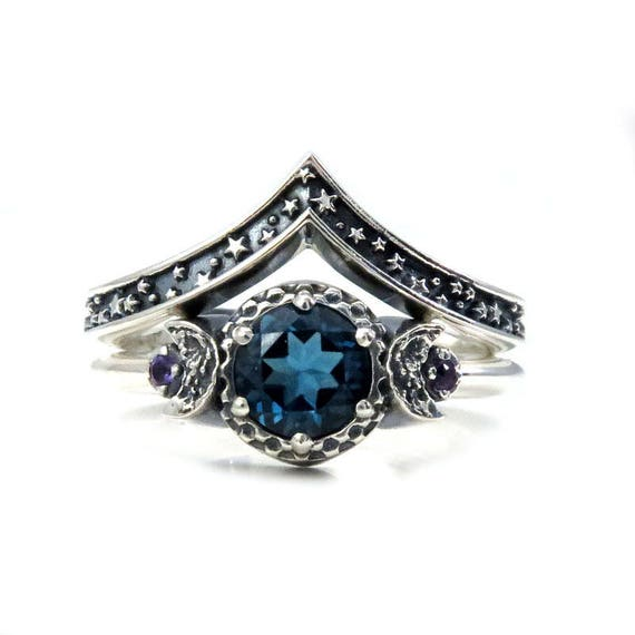 London Blue Topaz Moon and Stars Sterling Silver Engagement Moon Ring Set