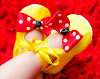 Yellow Satin Baby Shoes with Red & White Polka Dot Bow Soft Ballerina Slippers Baby Booties