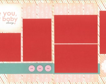 12x12 BABY GIRL scrapbook page kit, premade baby scrapbook, 12x12 premade scrapbook page, premade scrapbook pages, 12x12 scrapbook layout