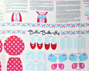 BELLA BUTTERFLY Doll Craft Fabric Panel for Riley Blake - Red