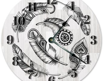 """10.5"""" Feather Clock - Black and White Feather Clock - Living Room Clock - Large 10.5"""" Wall Clock - Home Décor Clock - 3322"""