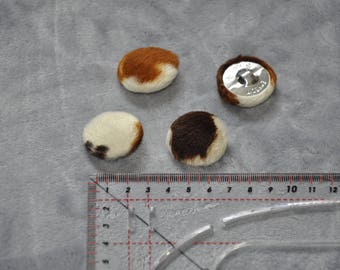 Set of 4 shank buttons covered with faux cow fur - used - good condition