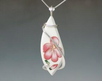Pink Flower Vintage Ceramic/ Dinnerware Cold Forged Sterling Silver Pendant