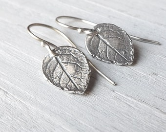 Small Silver Leaf Earrings, Tiny Sterling Leaves Dangle Botanical Earring Nature Jewelry gift, gardening gift, plant lovers gift womens gift