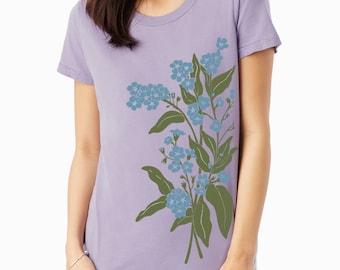 Forget Me Nots Floral print, Forget-Me-Nots Women's t-shirt, Lavender t-shirt, Art T-shirt