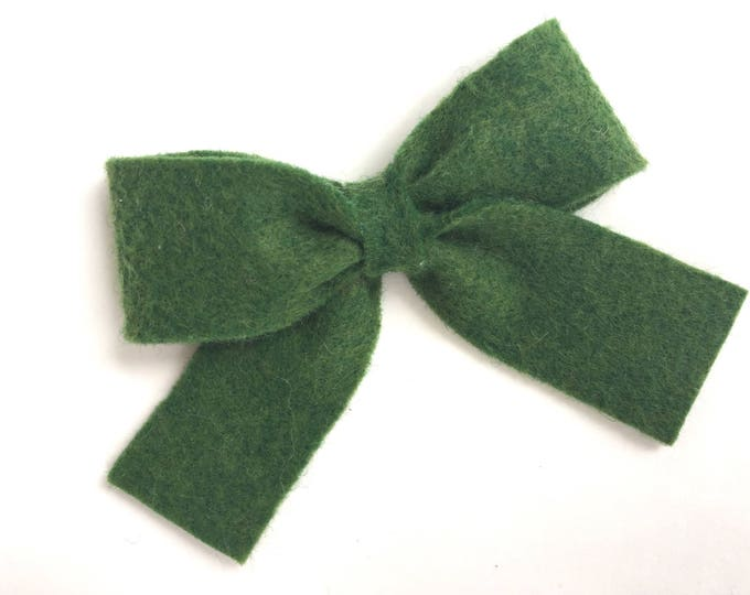 Felt hair bow - felt bow, hair bows, dark green hair bow, bows, hair bows for girls, baby bows, toddler hair bows, girls hair bows, hairbows