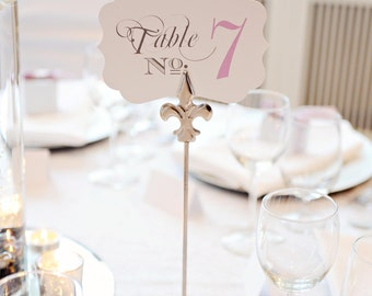 Wedding Table Number Cards - Wedding Table Numbers - Wedding Table Signs - Wedding Table Cards - Bracket Shape - Customize Wedding Colors