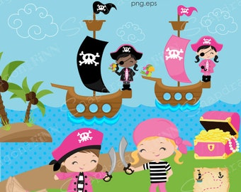 Pink Pirate clipart, Girl Pirate clipart, Pirate Girl, Parrot, Pirate Ship, Treasure Map, Pirate Party, Commercial License Included