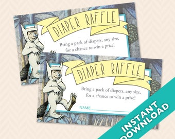 Where The Wild Things Are Baby Shower Diaper Raffle Insert, Wild Rumpus, Diaper Raffle Card, Wild Things Shower