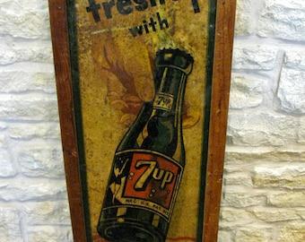Vintage 7UP Tin / Metal Soda Advertising Sign / Coke / Coca Cola