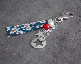 """""""Blue Star"""" liberty Keychain with beads and star pendant"""