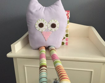 Owl, purple stuffed owl, stuffed animal, purple owl, girls room, plush, stuffed owl, owl decor, nursery decor, owl nutsery, baby girl
