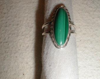 Malachite Ring, Sterling silver ring, green ring