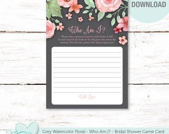 Who Am I Bridal Shower Game, Grey Watercolor Floral, Printable, Instant Download, Flowers, Bridal Game, Printable Who Am I, Flowers, 006A