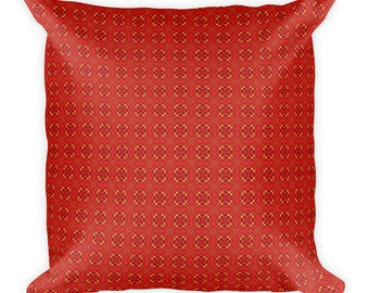 Red Pattern,Square Pillow, Cover with stuffing, USA, printful
