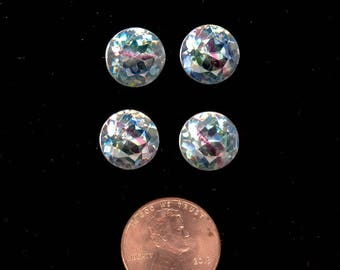 4 Vintage Givre Glass Stones ~ Clear, Sapphire, Ruby, & Emerald Faceted Foiled Pointed Back Stones 11mm No. 120D