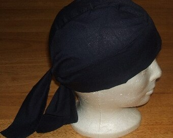 XL Size Solid Black Head Wrap Biker Do Rag Motorcycle Riding or Chemotherapy Patients Also in Fleece