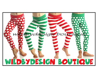 Christmas leggings baby toddler leggings red and white stripe leggings green dot leggings girls leggings St. Patricks day Valentine's Day