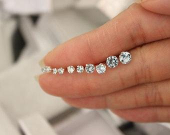 Aqua Stud Earrings, tiny stud earrings, Blue stud earrings,  March birthstone stud earrings,bridesmaid gift baby earrings, teeny tiny studs