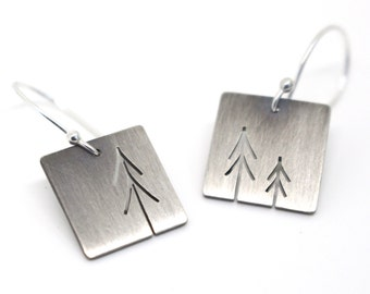 Tiny Sterling Silver Three Pine Trees Tree Art earrings - made to order
