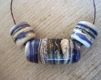 Glass Lampwork Bead 3 Big Hole Bead BHB Glossy Purple Ivory
