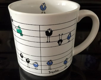 """SANDRA BOYNTON MUG vintage """"birds on a musical score"""" by Recycled Paper Products 4A"""