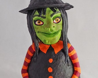 Small OOAK Roly Poly Witch Halloween, Wicca and Fall Decoration by Lori Platt The Pixie Knoll