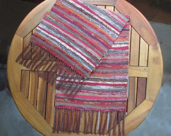 """Handwoven Table Runner, Appalachian Autumn Colors, Cloth Strip Runner in Rag Cloth Traditional Weaving Technique, Size: 10 1/2"""" x 32"""""""