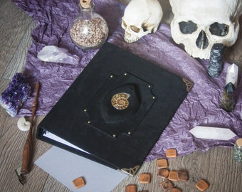 Ammonite Ring planner A5, handmade suede sketchbook, spellbook, book of shadows, witchcraft, wicca, pagan, magic