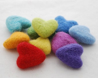 Assorted 100% Wool Felt Hearts - approx 3cm - Rainbow Colours