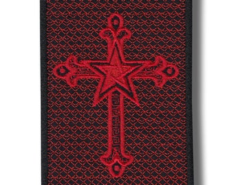 Inverted cross - embroidered patch, 10 X 7 cm