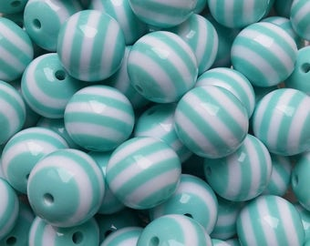 BULK 50 pcs Mint Green and White Stripe 20 mm Chunky Bubblegum Beads