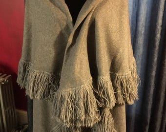Vintage Heirloom Grey Wool Woman's Fringed Poncho Coat & Skirt set - size M