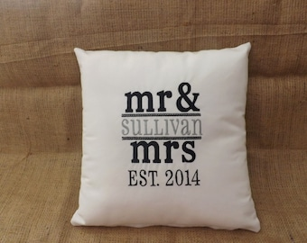 Mr. and Mrs. Embroidered Pillow, custom pillow, personalized pillow, 14 x