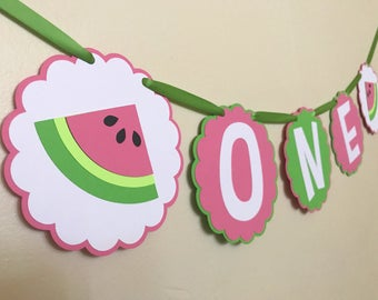 Watermelon One Banner, Watermelon Banner, Watermelon Birthday Decor, One In A Melon