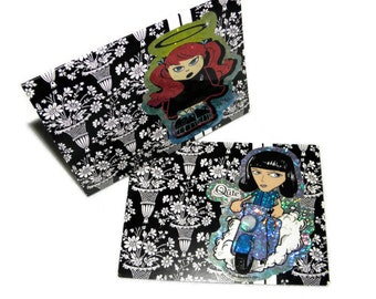 Two Cards Girls with Attitude Large Note Cards Blank with Envelopes