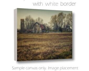Barn Photography-Barn & Silo-Farmhouse Art-Distressed Wall Art-Farm Photography-Canvas Wall Art-24x36 Canvas-Rustic-Architecture-Abandonded