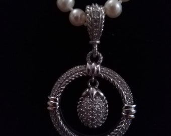 Judith Ripka Pearl Necklace with Enhancer