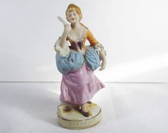 Vintage Maruri Japan NK Victorian lady with fan porcelain figurine.