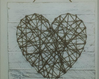 Rustic Jute Twine Heart Wall Art, string art, rustic wall art, Heart wall art, white wash, pallet wood, shabby chic, Rustic Homeware