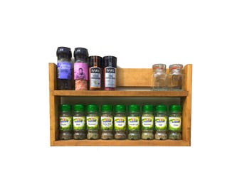 Rustic Spice Rack 2 Shelves | 27cm Tall |Open Top for Taller Jars | Light Oak Finish | 25.5cm to 57cm Wide | Reclaimed Wood