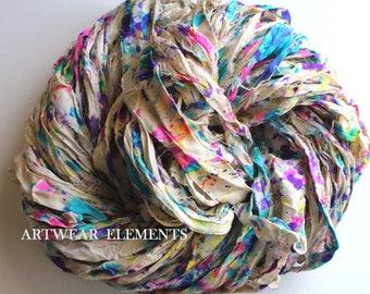 Pure Sari Silk, Artists Pallet 3, Fair Trade, 3.5 Oz, OOAK Silk Canvas Series, Yarn, Splatter Ribbon, Silk Ribbon, Artwear Elements 142c
