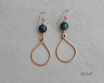 DROP copper earrings and gemstone