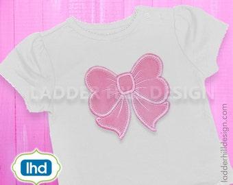 Bow Applique Design -- Machine Embroidery Bow Download -- Birthday Bow Embroidery Applique Design chr028