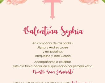 Floral First Communion Invitation Primera Comunion